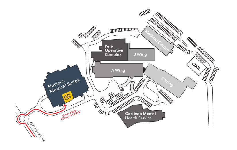 Map of where to park at Nucleus Medical Suites when visiting Sunshine Coast Vascular